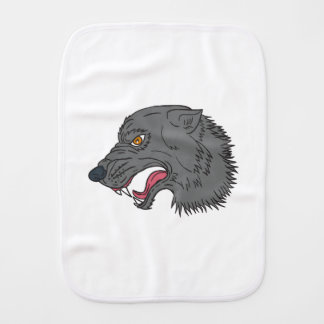 Grey Wolf Head Growling Drawing Burp Cloth