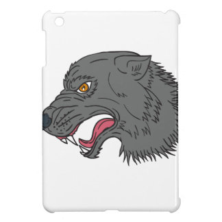 Grey Wolf Head Growling Drawing Cover For The iPad Mini