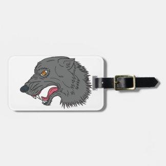 Grey Wolf Head Growling Drawing Luggage Tag