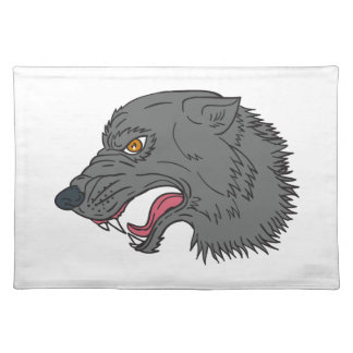 Grey Wolf Head Growling Drawing Placemat