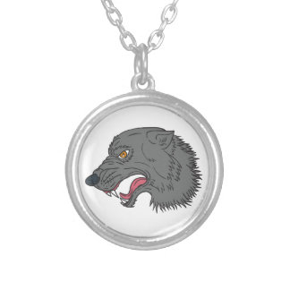 Grey Wolf Head Growling Drawing Silver Plated Necklace