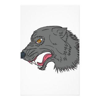 Grey Wolf Head Growling Drawing Stationery