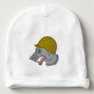 Grey Wolf Head Growling WW2 Helmet Drawing Baby Beanie