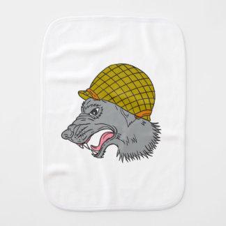 Grey Wolf Head Growling WW2 Helmet Drawing Baby Burp Cloth