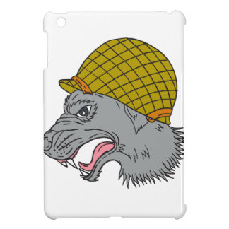 Grey Wolf Head Growling WW2 Helmet Drawing Cover For The iPad Mini