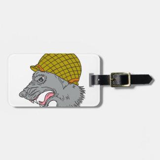 Grey Wolf Head Growling WW2 Helmet Drawing Luggage Tag