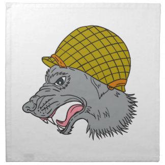 Grey Wolf Head Growling WW2 Helmet Drawing Napkin