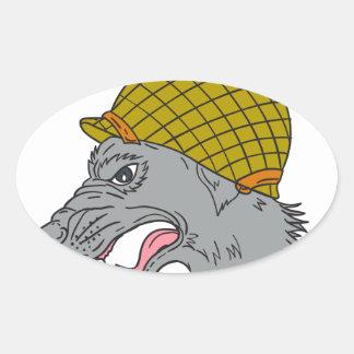 Grey Wolf Head Growling WW2 Helmet Drawing Oval Sticker
