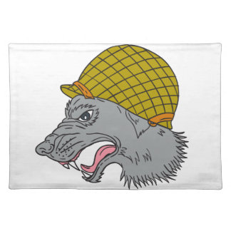 Grey Wolf Head Growling WW2 Helmet Drawing Placemat