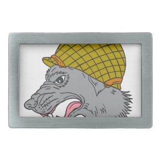 Grey Wolf Head Growling WW2 Helmet Drawing Rectangular Belt Buckle