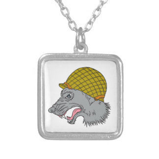Grey Wolf Head Growling WW2 Helmet Drawing Silver Plated Necklace