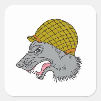 Grey Wolf Head Growling WW2 Helmet Drawing Square Sticker