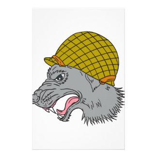 Grey Wolf Head Growling WW2 Helmet Drawing Stationery