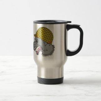 Grey Wolf Head Growling WW2 Helmet Drawing Travel Mug