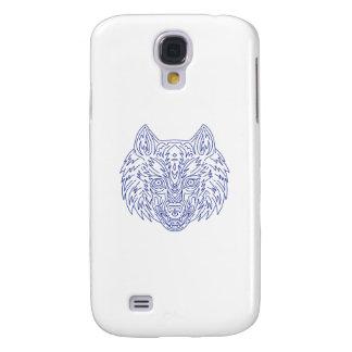 Grey Wolf Head Mono Line Galaxy S4 Cover