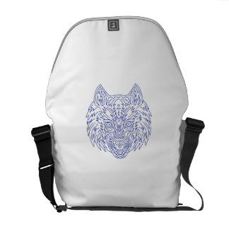 Grey Wolf Head Mono Line Messenger Bag