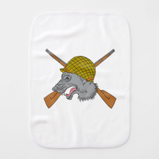 Grey Wolf Head World War 2 Helmet Drawing Baby Burp Cloths