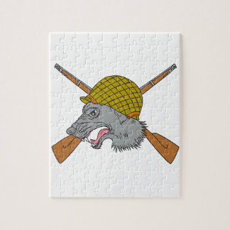 Grey Wolf Head World War 2 Helmet Drawing Jigsaw Puzzle