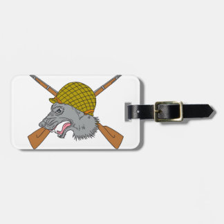 Grey Wolf Head World War 2 Helmet Drawing Luggage Tag