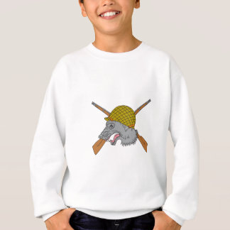 Grey Wolf Head World War 2 Helmet Drawing Sweatshirt