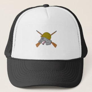 Grey Wolf Head World War 2 Helmet Drawing Trucker Hat
