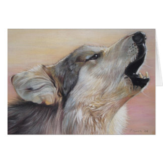 grey wolf howling wildlife painting realist art card