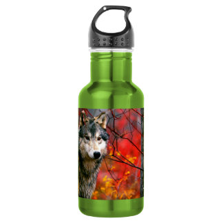 Grey Wolf in Beautiful Red and Yellow Foliage 532 Ml Water Bottle