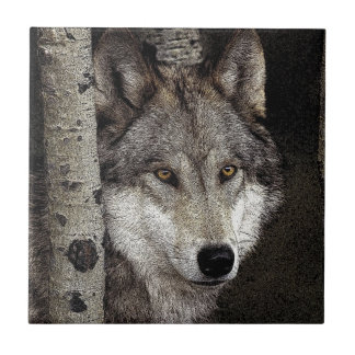 Grey wolf ink art Tile or Trivet