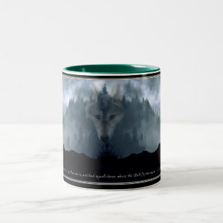 Grey Wolf & Misty Mountain Forest Coffee Mug