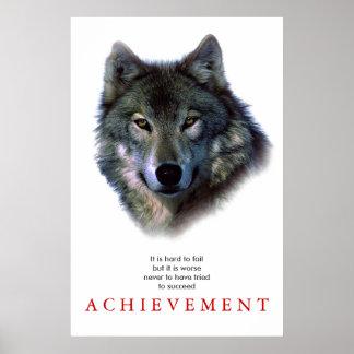 Grey Wolf Motivational Unique Poster Print