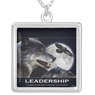 Grey Wolf  Raven Full Moon Motivational Necklace