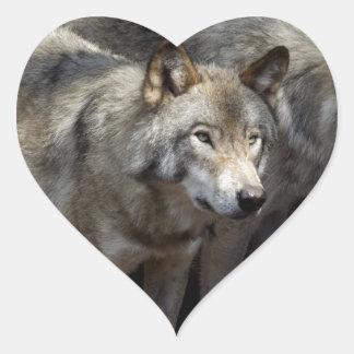 Grey wolf standing heart sticker