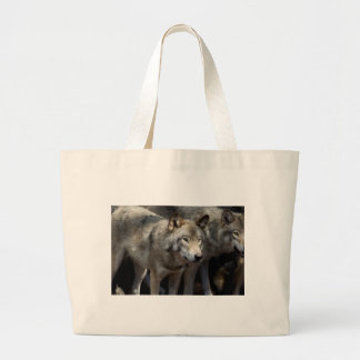 Grey wolf standing large tote bag