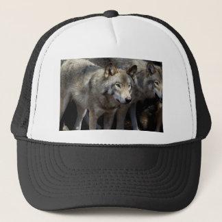 Grey wolf standing trucker hat