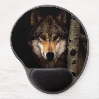 Grey wolf - wild wolf -  face wolf - forest wolf gel mouse pad