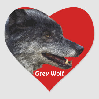 Grey Wolf Wildlife and Nature Design Heart Stickers