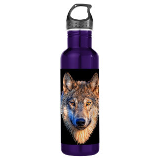 Grey wolf - wolf face 710 ml water bottle