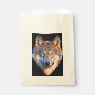 Grey wolf - wolf face favour bag
