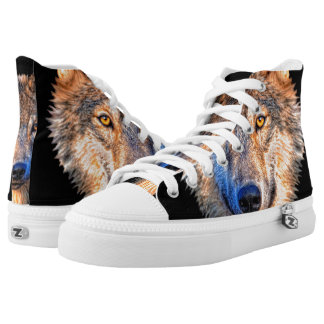Grey wolf - wolf face high tops