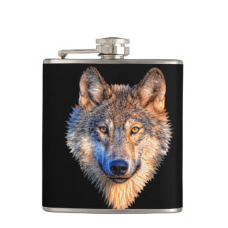 Grey wolf - wolf face hip flask