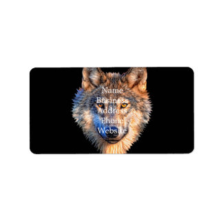 Grey wolf - wolf face label