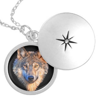 Grey wolf - wolf face locket necklace