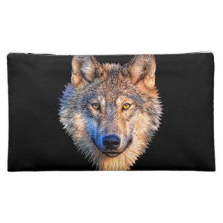 Grey wolf - wolf face makeup bag