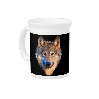 Grey wolf - wolf face pitcher
