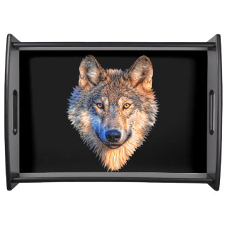 Grey wolf - wolf face serving tray