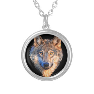 Grey wolf - wolf face silver plated necklace