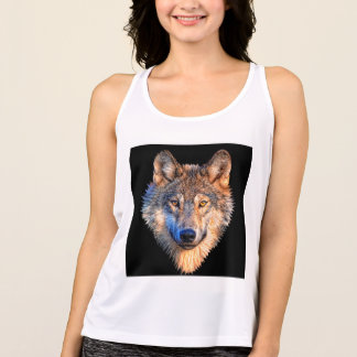 Grey wolf - wolf face singlet
