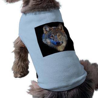 Grey wolf - wolf face sleeveless dog shirt