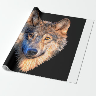 Grey wolf - wolf face wrapping paper