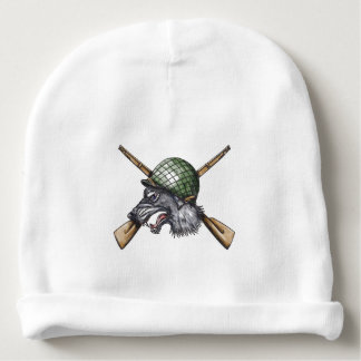 Grey Wolf WW2 Helmet Crossed Rifles Tattoo Baby Beanie
